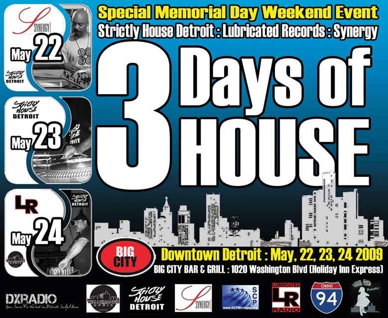 Ra 39 3 days of house music 39 at big city bar grille for Detroit house music