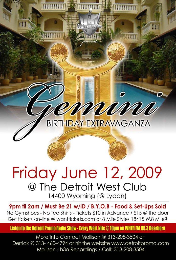 ra  gemini birthday extravaganza at detroit west club