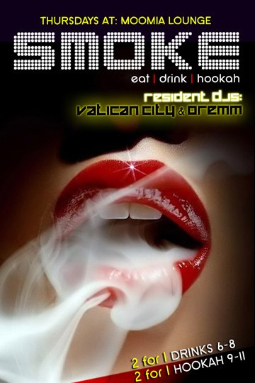 RA: 'smoke' Thursdays - Dance, Drink, Hookah at Moomia, New
