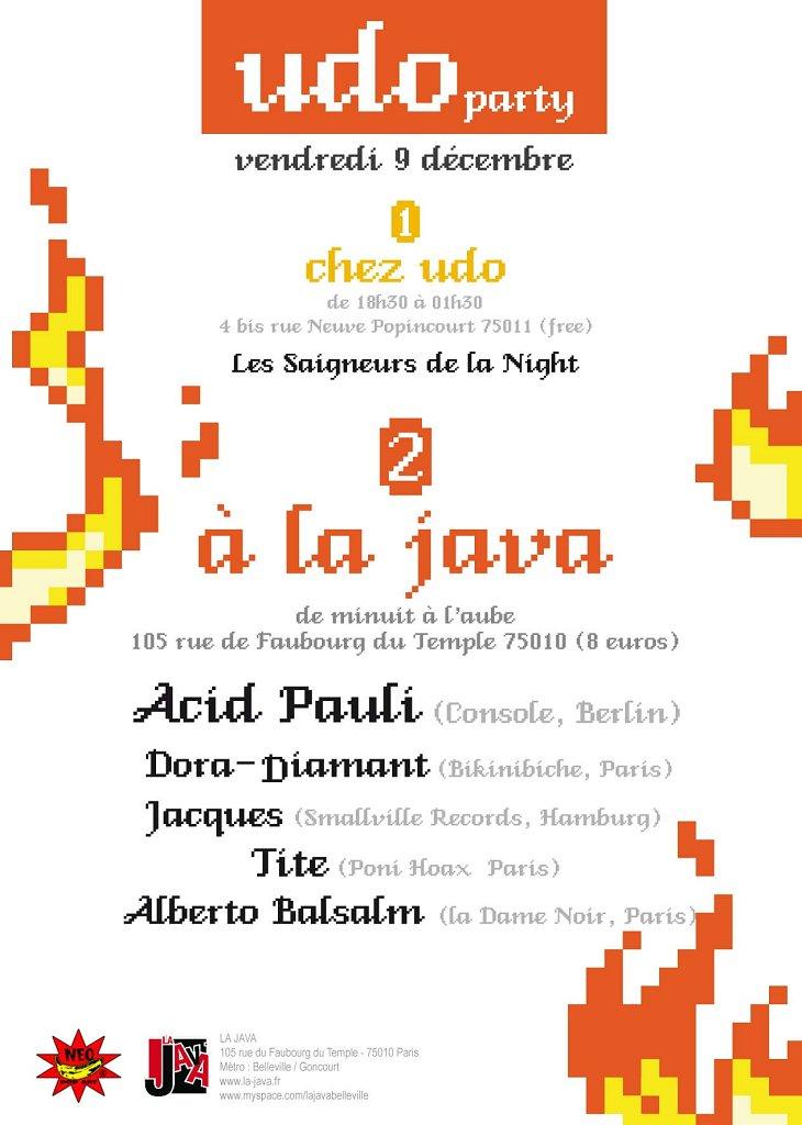 RA: Udo Party at Java, La, Paris (2011)