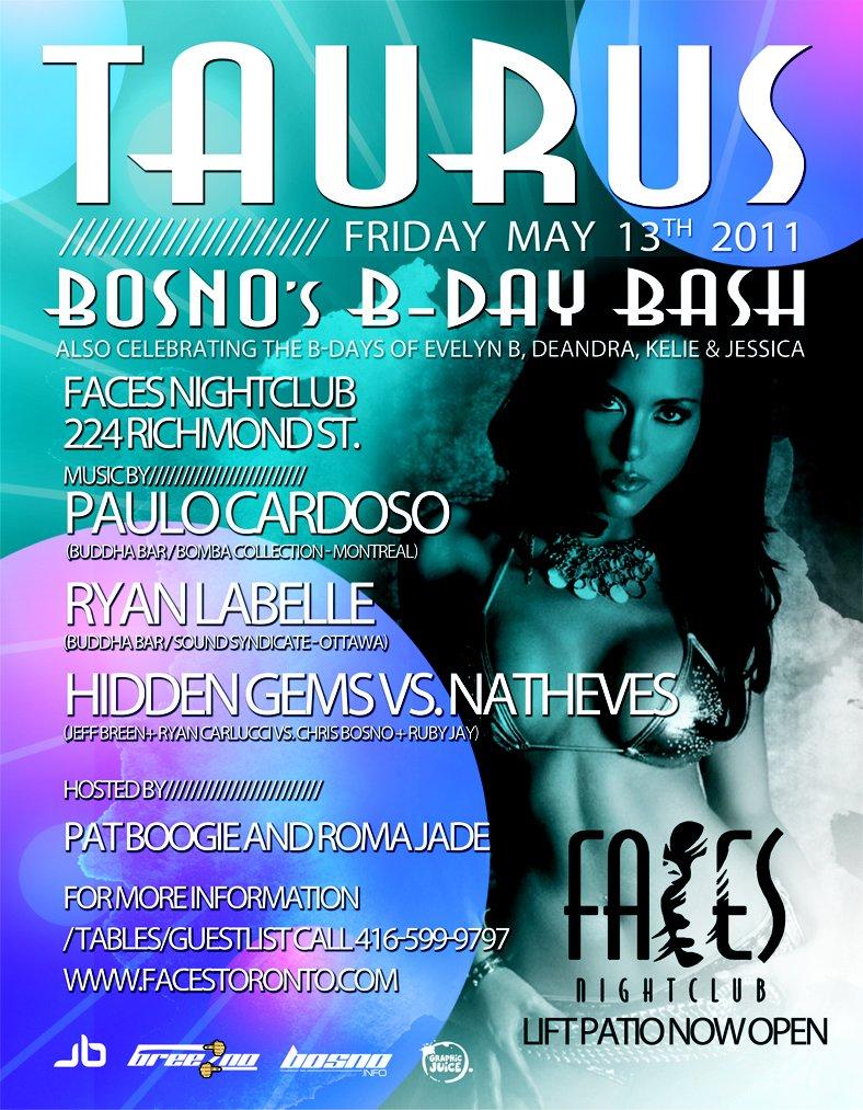 RA: Bosno Info's Taurus Bday Party Lift Patio at Faces Nightclub