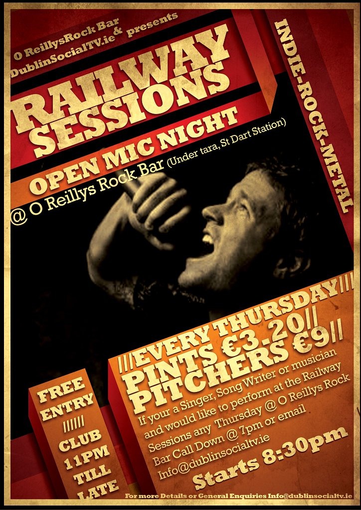 RA: Railway Sessions Open Mic Night at O Reillys Rock Bar ...