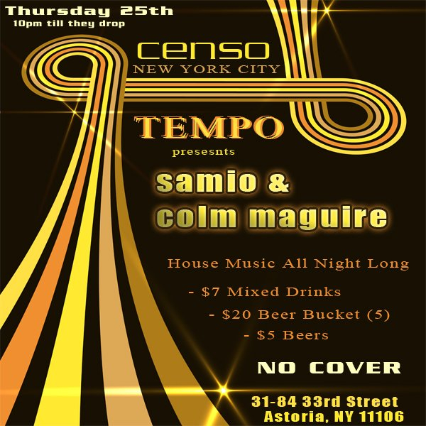 Ra tempo presents house music all night long at censo for House music all night long