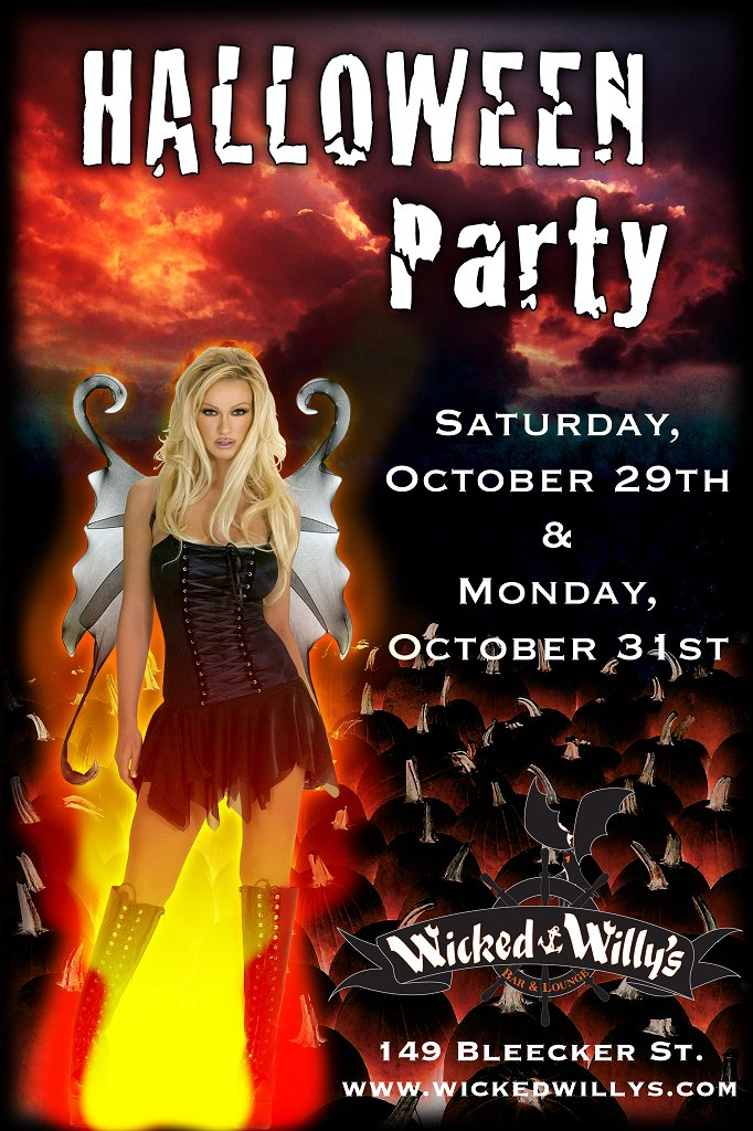 RA Halloween Costume Party At Wicked Willys New York - Halloween costume party flyer