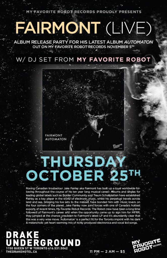 RA: Fairmont 'Automaton' Album Release Party at The Drake Hotel