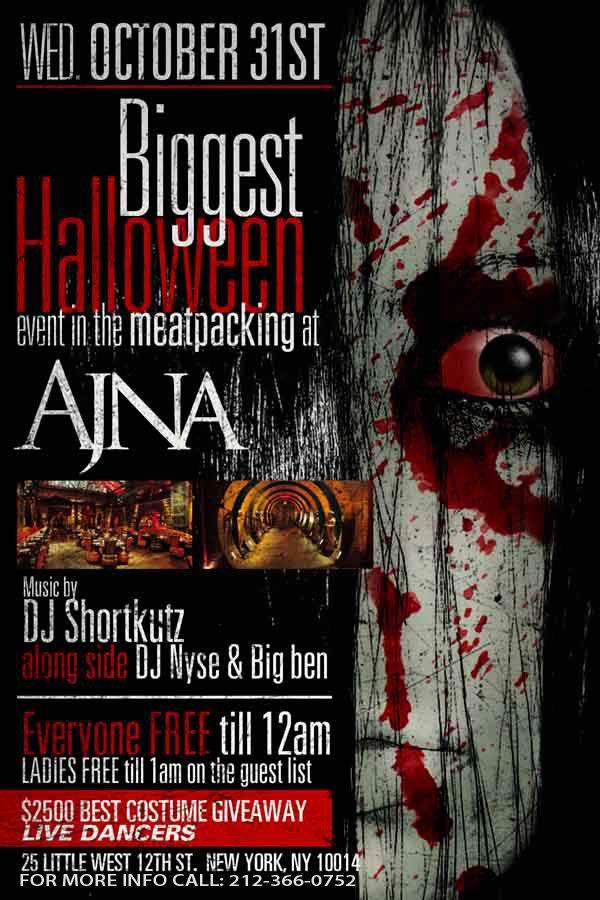 ra halloween night bar everyone free at ajna new york 2012