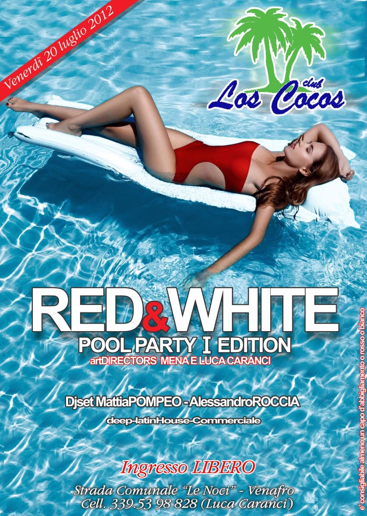 Ra red white party at pool party hawaian style for Club piscine flyer