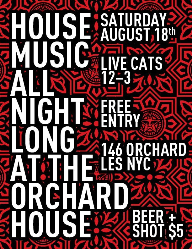 Ra house music all night long at the orchard house new for All house music