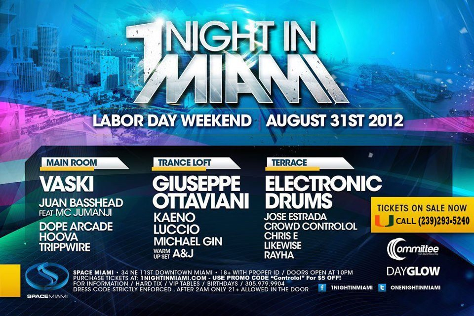 Ra 1 Night In Miami Labor Day Weekend At Space Miami 2012
