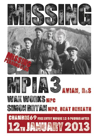 Ra missing persons club with mpia3 at chambre 69 glasgow for Chambre 69 club glasgow