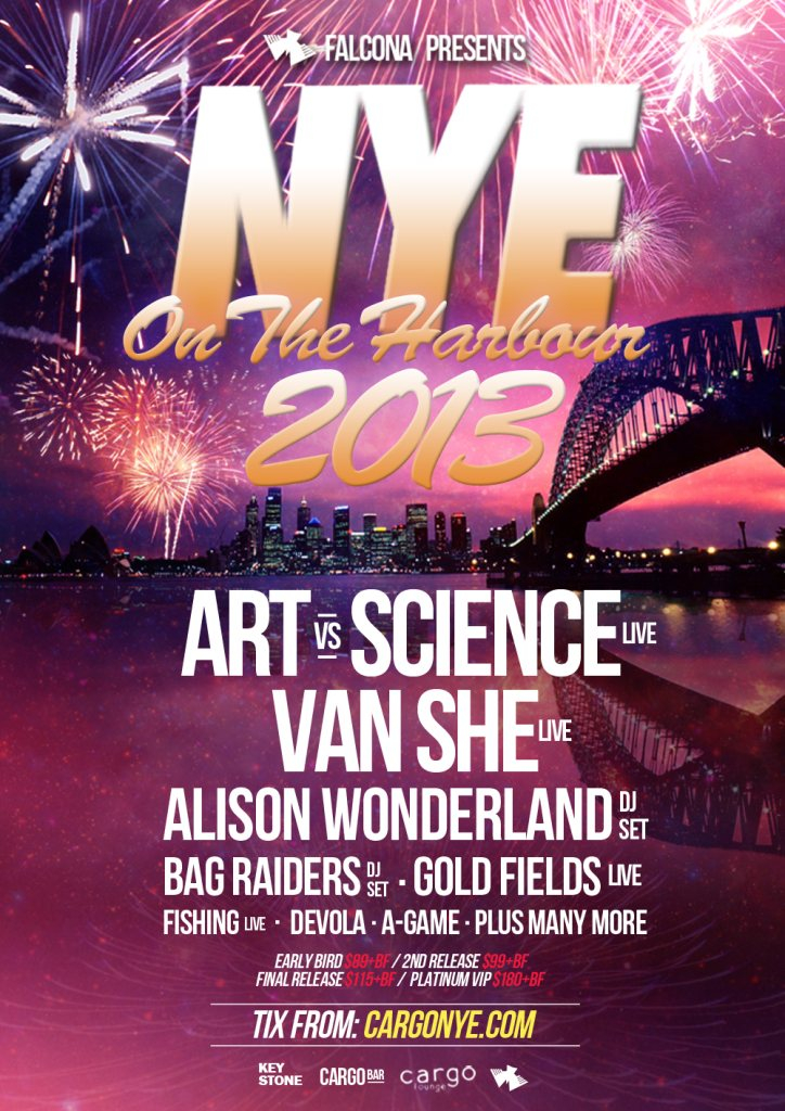 Ra falcona presents nye on the harbour at cargo bar sydney 2013 line up malvernweather Gallery