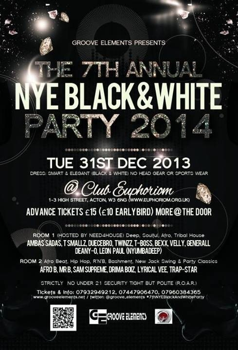 Flyer party black and white dresses