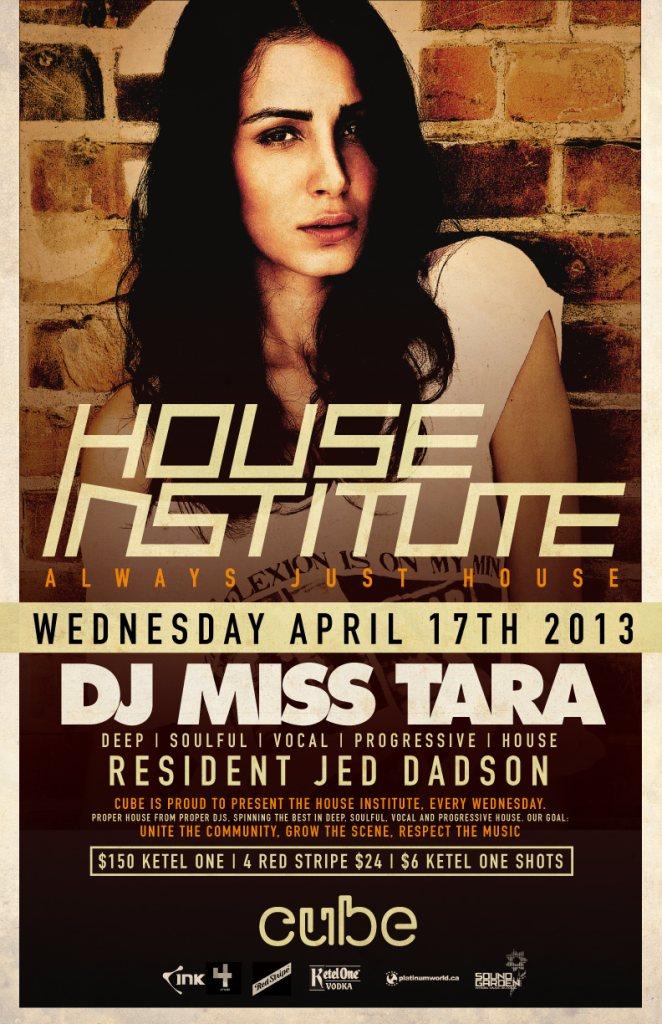 RA: House Institute presents DJ Miss Tara at Cube, Toronto