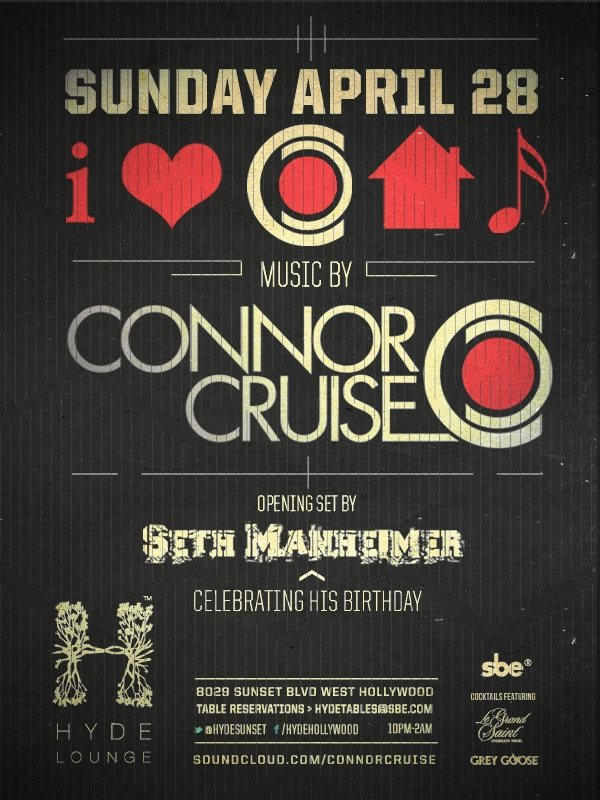 Ra connor cruise spins i heart house music series at hyde for Us house music