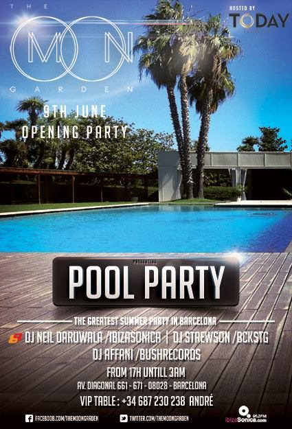 Ra inauguraci n pool party at the moon garden at hotel for Barcelona pool garden 4