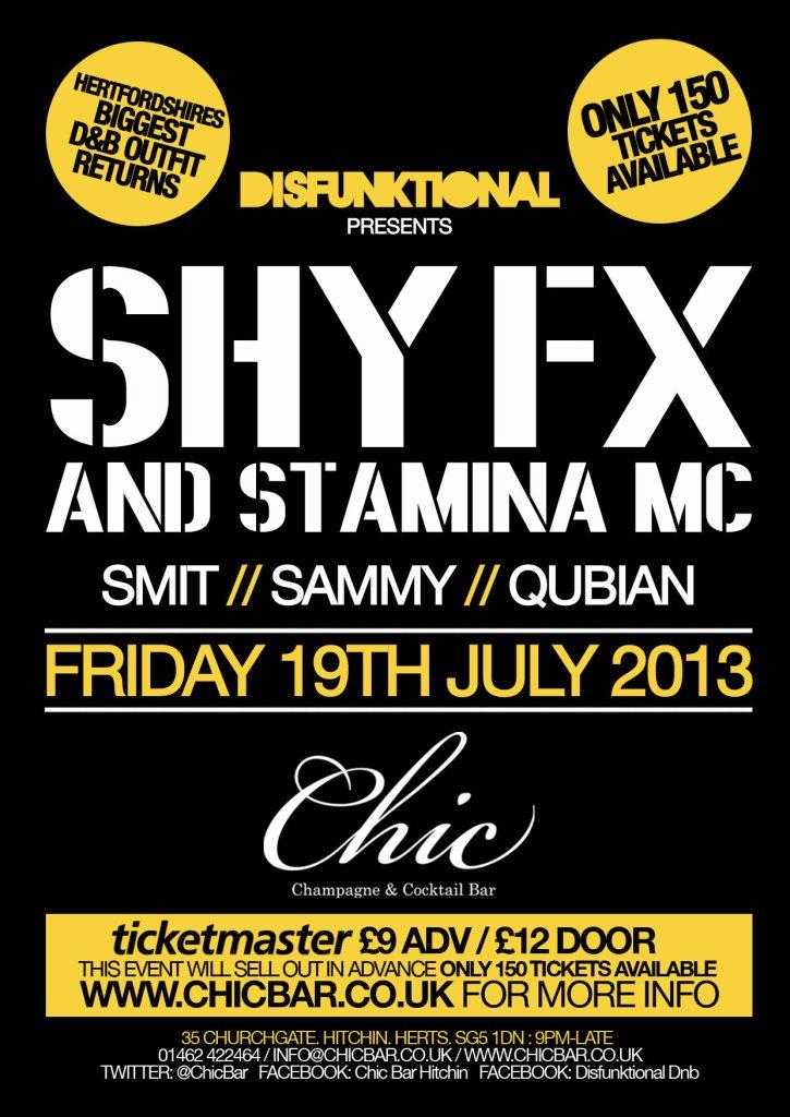 RA: Disfunktional D&B presents SHY FX & Stamina MC at Chic Bar