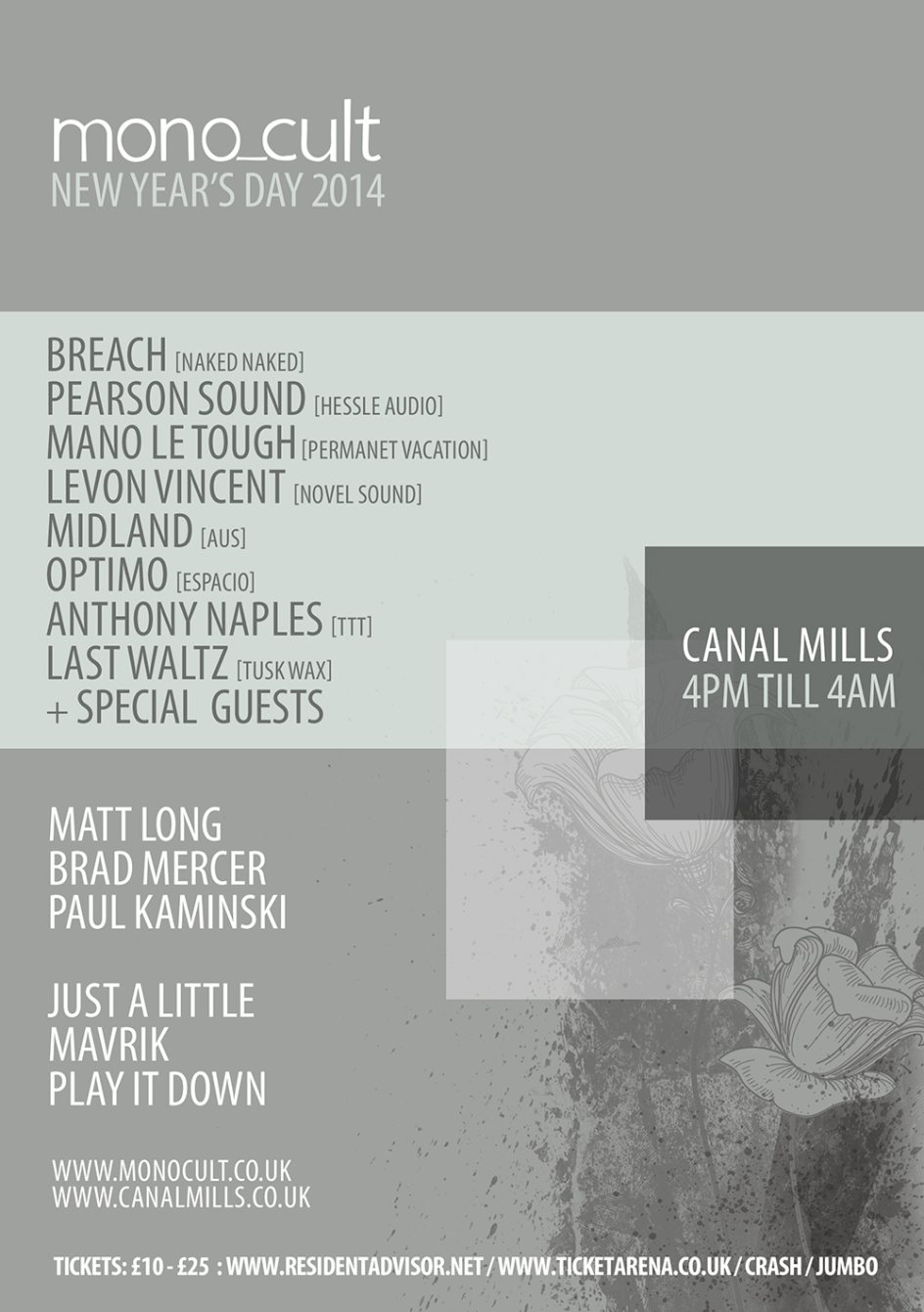 Ra Mono Cult New Years Day 2014 At Canal Mills Leeds Ls12 Wiring Diagram Line Up