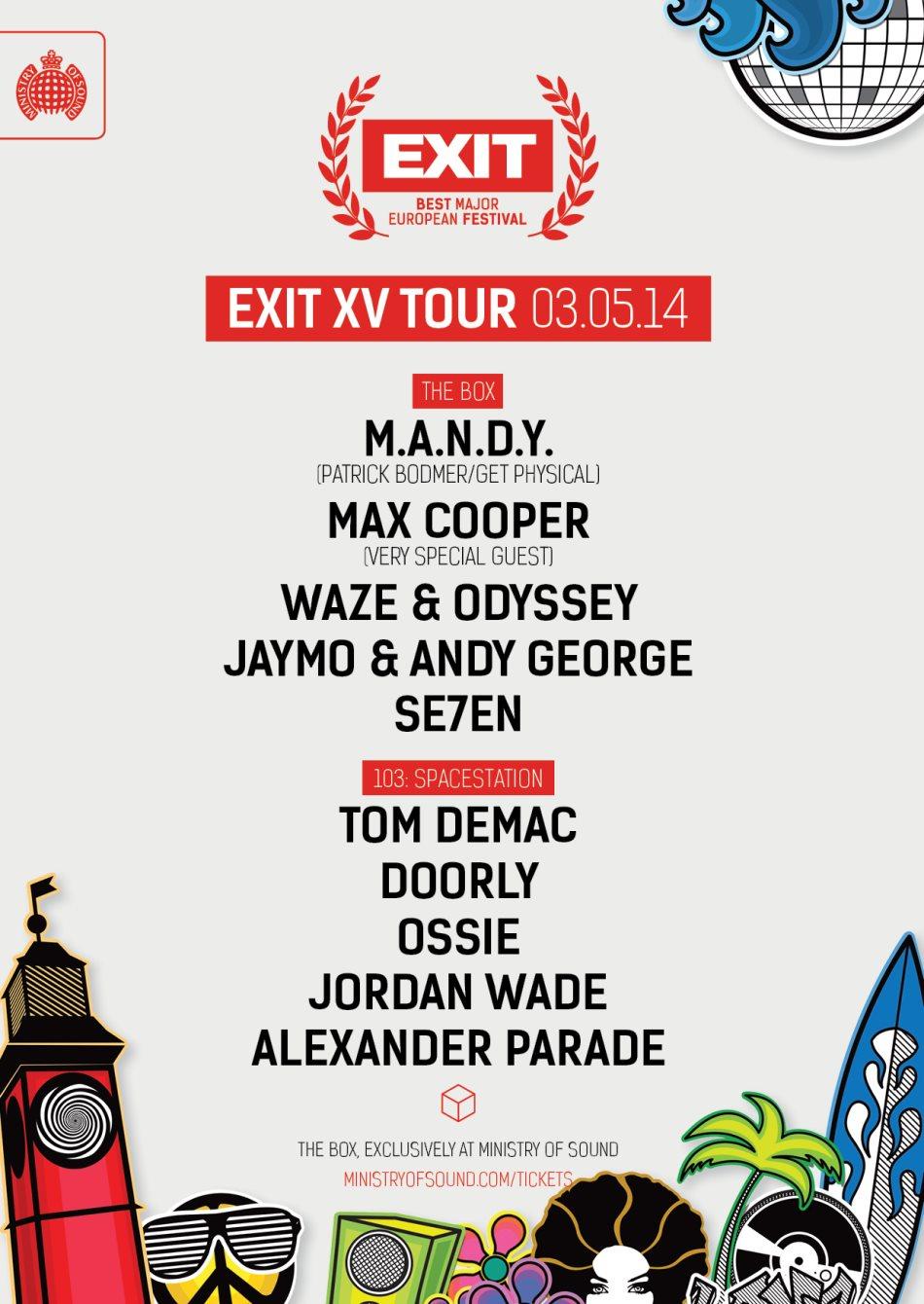 RA: Exit XV Tour 2014: M A N D Y  + Max Cooper + Waze