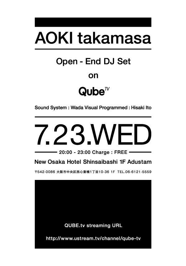 RA: Aoki Takamasa Open End DJ SET on Qube TV at New Osaka