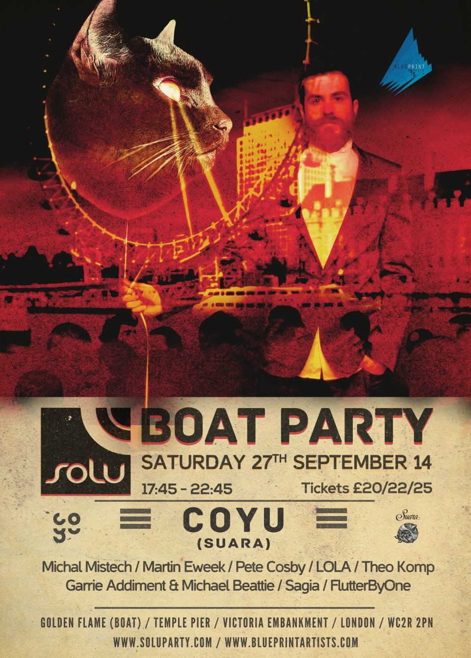Ra Solu Boat Party With Coyu At Temple Pier London 2014