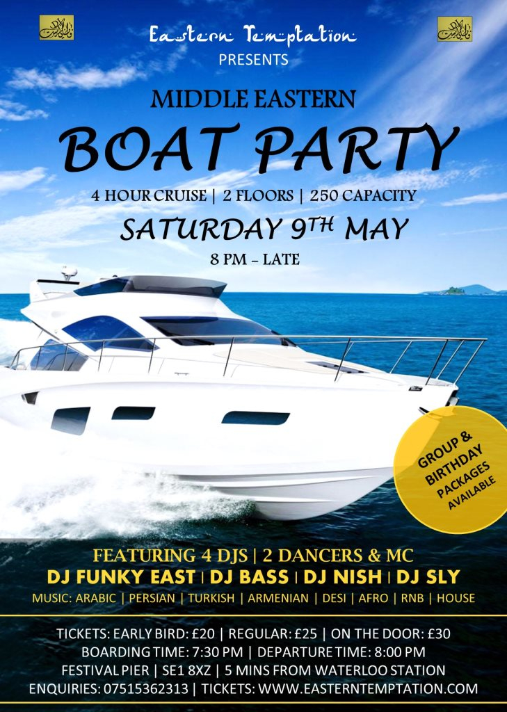 RA: Uk's Biggest Middle Eastern Boat Party at MV Jewel Of London