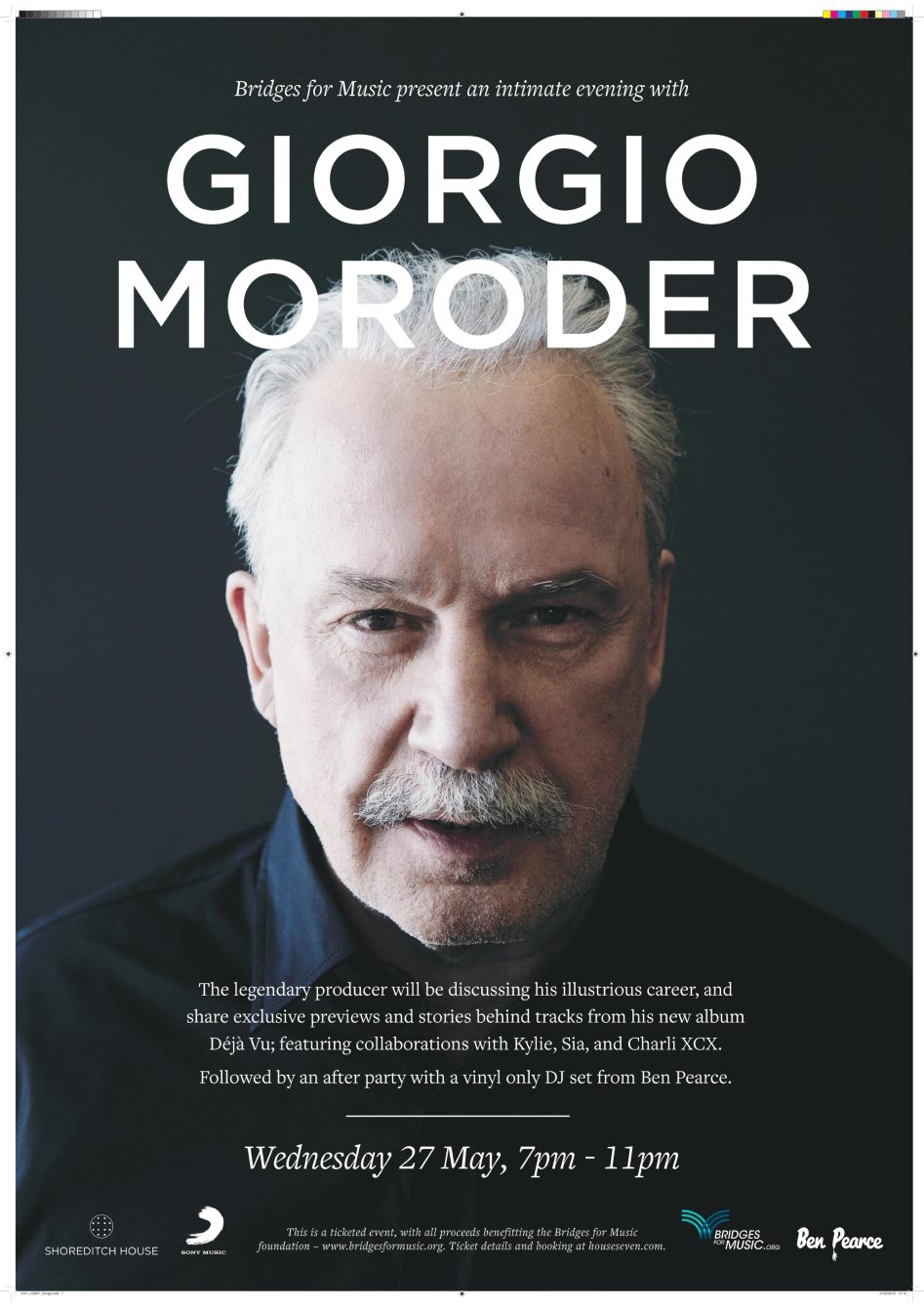 Page 1 | 27/05/2015 | London | Bridges for Music presents Giorgio Moroder Album Launch &a... Published by DjMaverix on Monday, 25 May 2015 in Live Set - Dance Hall - Party (Events)