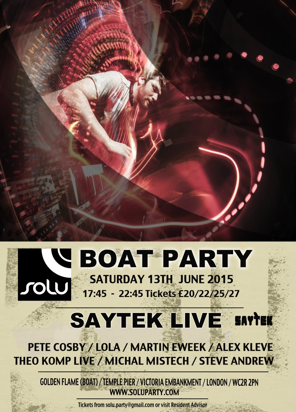 Ra Solu Boat Party With Saytek Live At Temple Pier London 2015