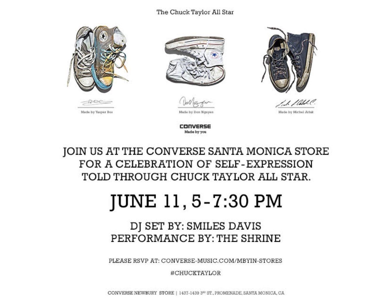 e6771509df1a Line-up  . DJ Smiles Davis The Shrine. Join us at the Converse Santa Monica  ...