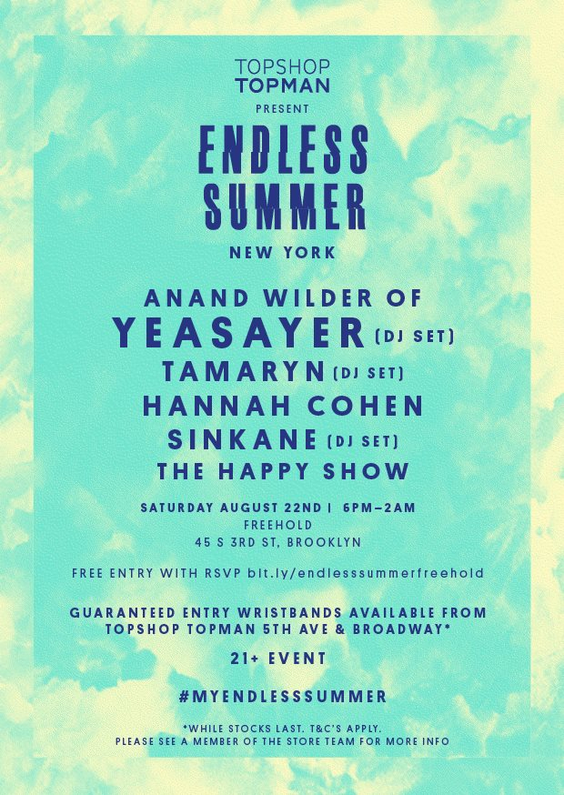RA: Topshop & Topman present Endless Summer, NYC at Freehold