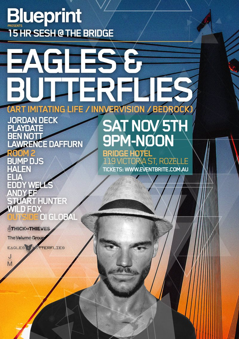 Ra blueprint presents eagles butterflies at the bridge hotel line up malvernweather Gallery
