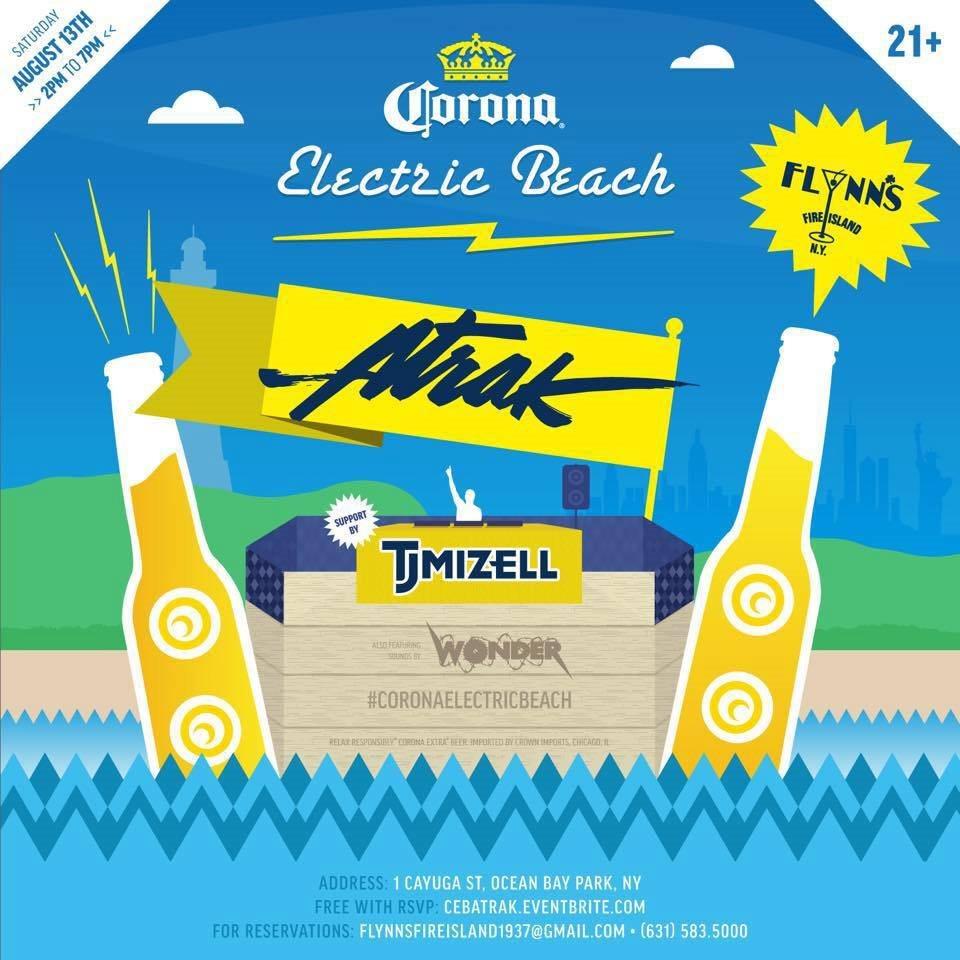 Ocean Beach Fire Island: RA: Corona Electric Beach Presents: A-Trak At Flynn's