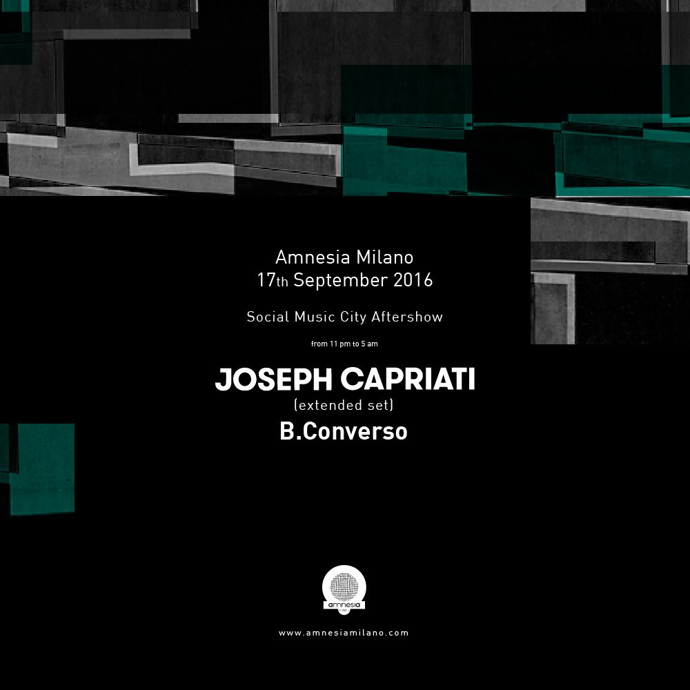 Page 1 | 17/09/2016 | Milano | Social Music City Aftershow with Joseph Capriati (Extended... Published by DjMaverix on Monday, 12 September 2016 in Clubs and Discoteque (Events)