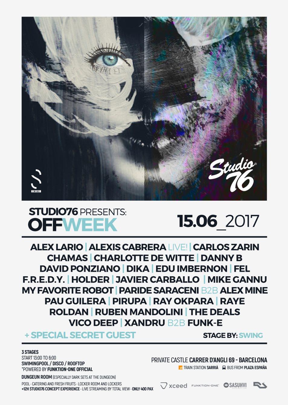 RA: Studio76 presents Off Week at TBA - Barcelona, Barcelona (2017)