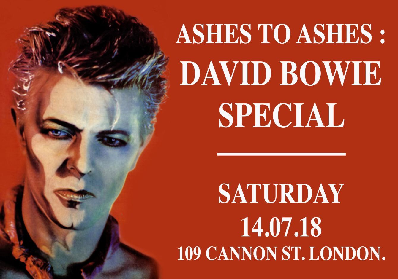 RA: Ashes to Ashes: David Bowie Special at The Cannick Tapps, London