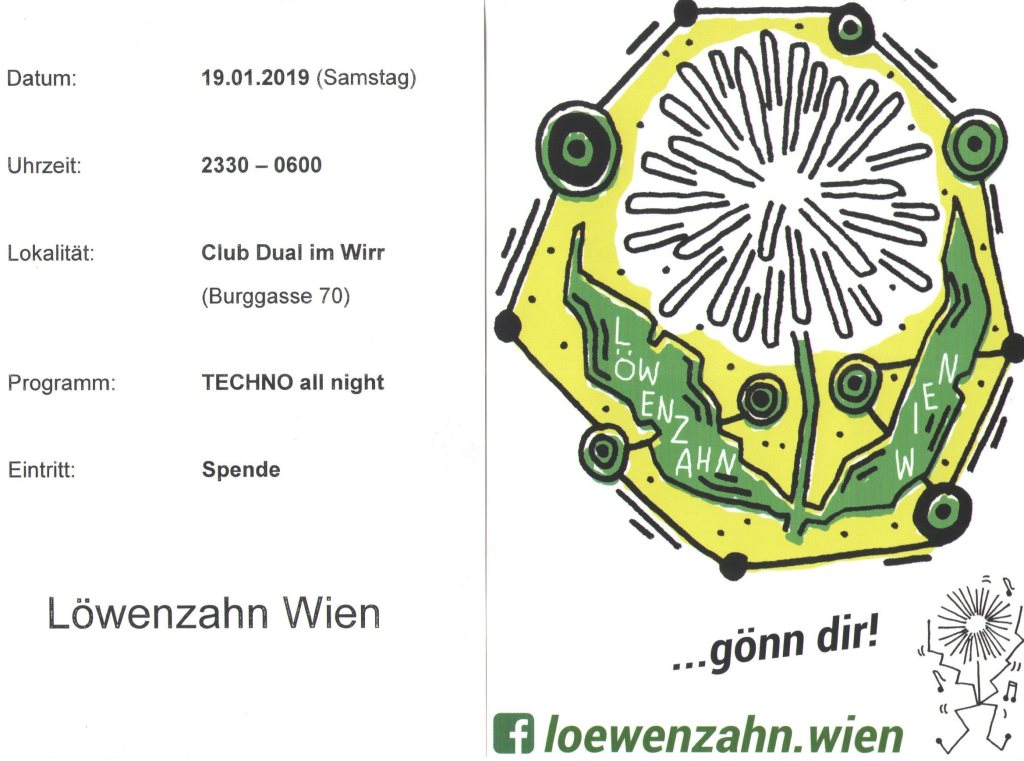 Ra Löwenzahn Meets Dual Free Donation Techno Party At Club Dual