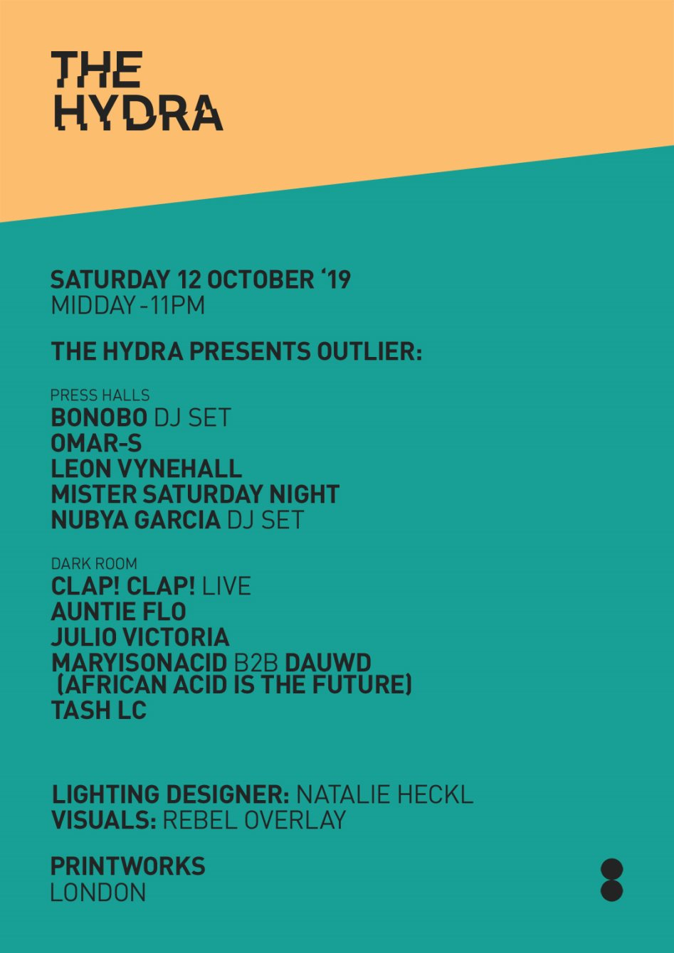 RA: The Hydra presents Outlier with Bonobo, Omar-S, Leon Vynehall, Mister Saturday  Night & More at Printworks, London (2019)