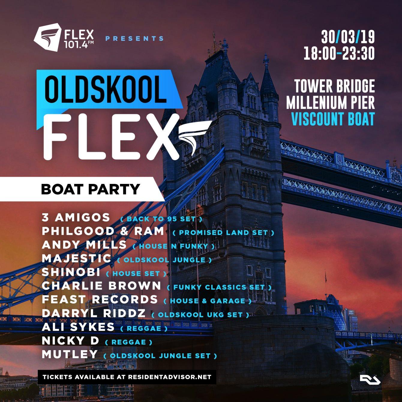 RA: Oldskool Flex Boat Party at Tower Millennium Pier, London