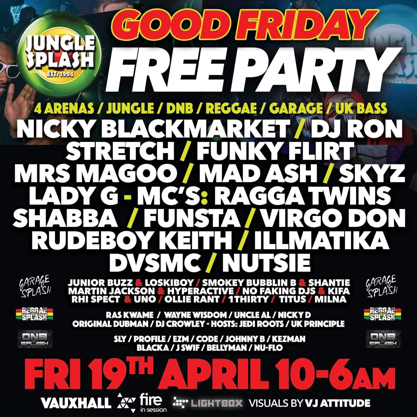RA: Jungle Splash Free Party at Fire & Lightbox, London