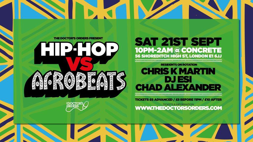 RA Tickets: Hip-Hop vs Afrobeats at Concrete Space, London