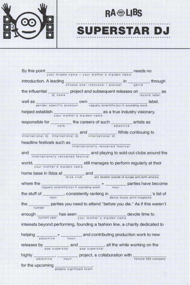 ra  dj bio mad libs