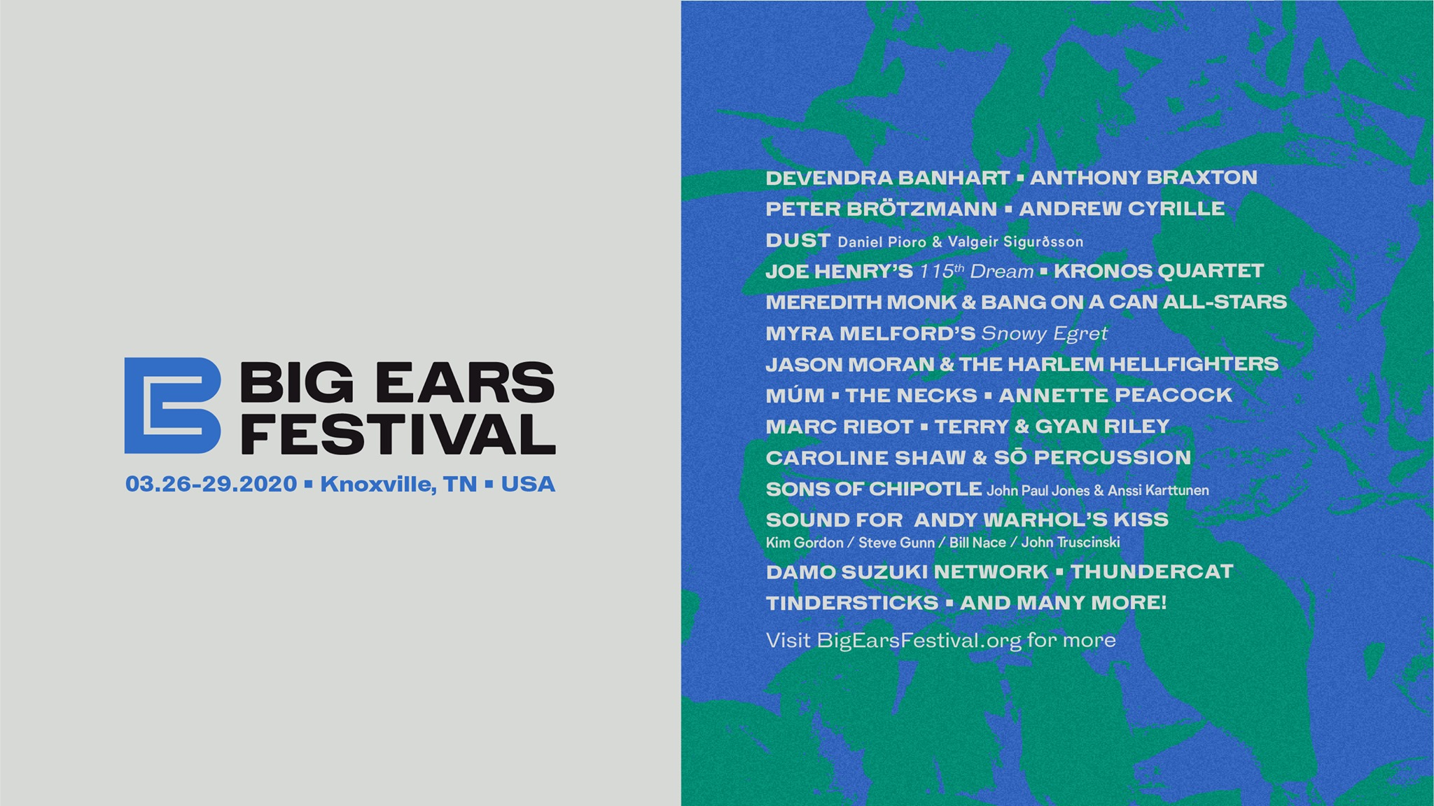 Tennessee festival Big Ears unveils 2020 lineup with Anthony Braxton, Terry Riley, Jlin