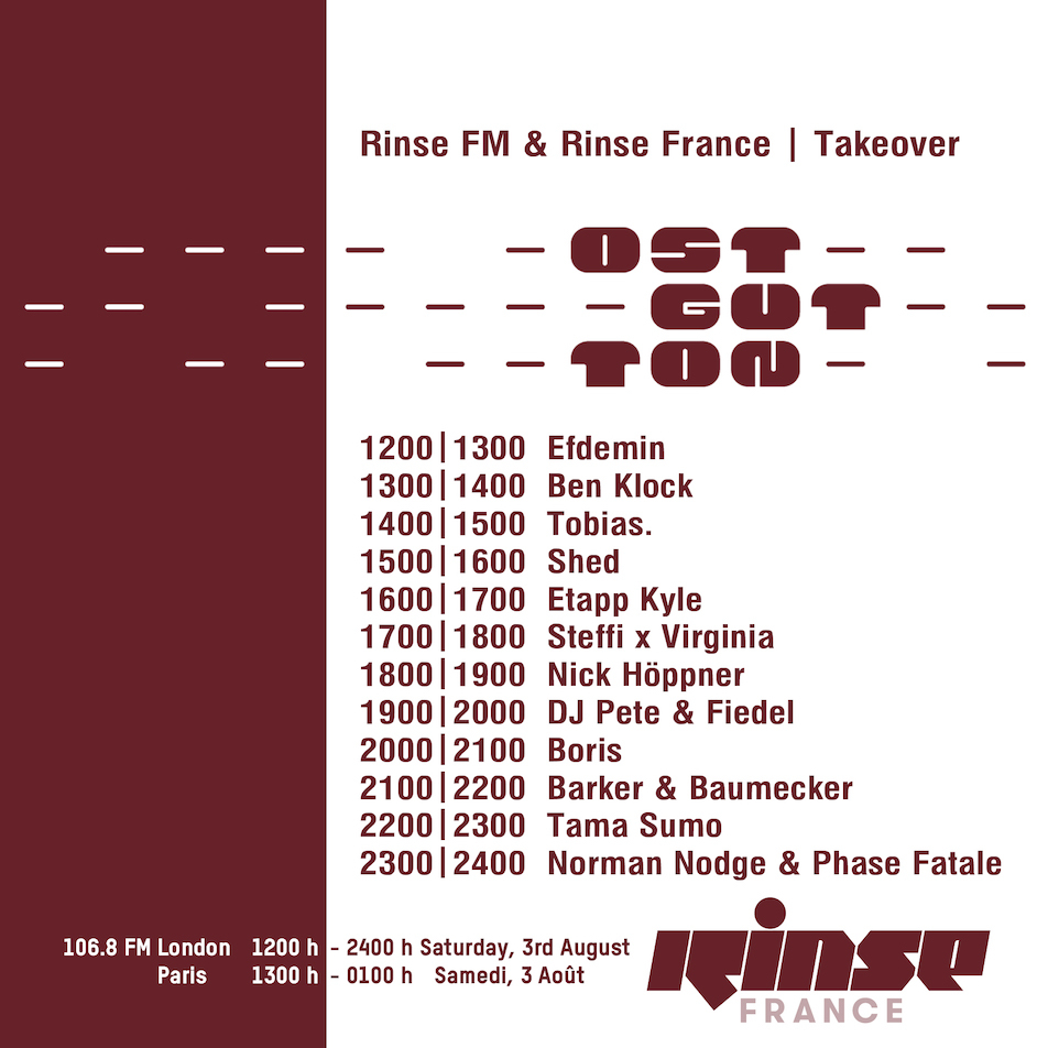Ostgut Ton takes over Rinse FM (and Rinse France) on Saturday