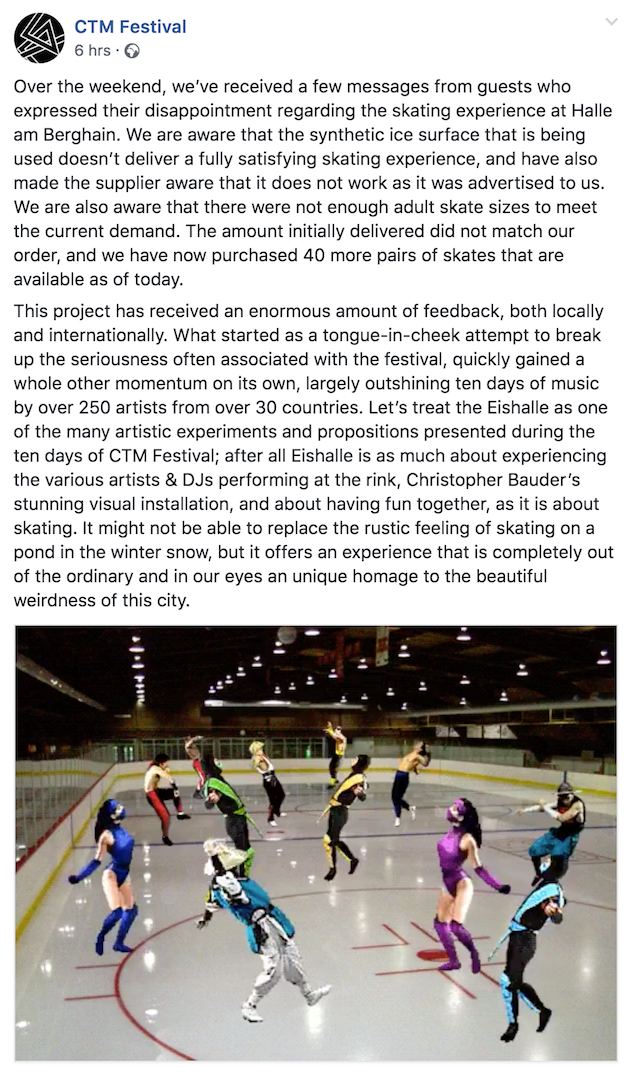 """Berghain Festivalgoers Disappointed with Fake """"Ice"""" Skating Rink"""